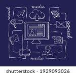desktop and social media icons
