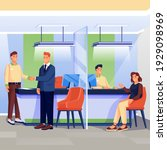 workers and clients in bank...   Shutterstock .eps vector #1929098969