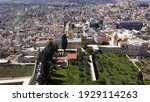 Arial view over Church of the Nativity And City Square Of Bethlehem , Morning shot from Bethlehem, the town where Jesus was born. Place of The Church of the Nativity