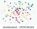 many falling colorful confetti...   Shutterstock .eps vector #1929136163