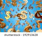 golden dollar signs falling on... | Shutterstock . vector #192913628