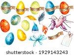 colorful easter eggs. easter... | Shutterstock . vector #1929143243