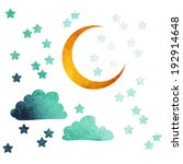 moon and stars of watercolor | Shutterstock .eps vector #192914648