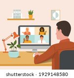 young man is talking to his... | Shutterstock .eps vector #1929148580