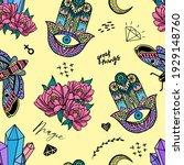 vector hand drawn hamsa hand... | Shutterstock .eps vector #1929148760