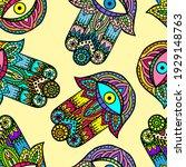 vector hand drawn hamsa hand... | Shutterstock .eps vector #1929148763