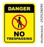 no trespassing sign on white... | Shutterstock .eps vector #1929158090
