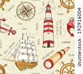 nautical seamless pattern of... | Shutterstock .eps vector #192916004