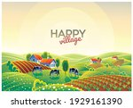 summer countryside landscape at ... | Shutterstock .eps vector #1929161390