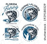 vintage sheepshead fish emblems.... | Shutterstock .eps vector #1929180329