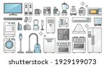 home appliances set and... | Shutterstock .eps vector #1929199073