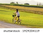 Small photo of Family Happy. Asia gird happy and relax outdoor with bicycling at the garden meadow in sunset. Lifestyle Family Concept