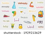 hand drawn daily stickers... | Shutterstock .eps vector #1929213629