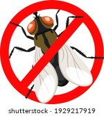 stop fly insect in a red sign. | Shutterstock .eps vector #1929217919