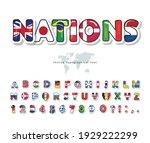 world flags cartoon font. paper ... | Shutterstock .eps vector #1929222299