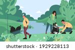 young people remove garbage ... | Shutterstock .eps vector #1929228113