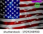 waving flag of usa. gradient... | Shutterstock .eps vector #1929248900