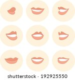 pink set of female lips | Shutterstock .eps vector #192925550