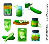 cucumber products  food or... | Shutterstock .eps vector #1929326129