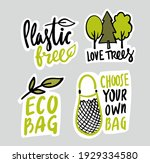 eco emblem with bag and... | Shutterstock .eps vector #1929334580