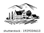 house in village with trees and ... | Shutterstock .eps vector #1929334613