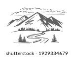landscape with large mountains. ... | Shutterstock .eps vector #1929334679