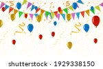 colorful party flags confetti... | Shutterstock .eps vector #1929338150