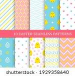 ten different easter seamless...   Shutterstock .eps vector #1929358640