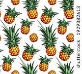 pineapple seamless pattern.... | Shutterstock .eps vector #1929382613