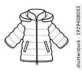 padded downy winter jacket with ... | Shutterstock .eps vector #1929408053