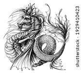 dragon. graphic  black and... | Shutterstock .eps vector #1929410423