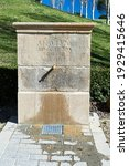 """stone fountain with tap on the outskirts of Pamplona Translation: """"year 1870, I am your fountain, take care of me, thank you"""""""