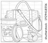 bag and coffee.coloring book... | Shutterstock .eps vector #1929418556
