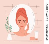 a young woman in the bathroom...   Shutterstock .eps vector #1929431099