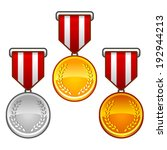 set of gold  silver and bronze...