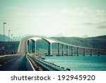 bridge on the river in Norway - stock photo