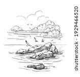 Seascape Sketch. Sea  Rocks ...