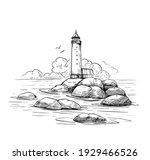 seascape sketch. lighthouse ... | Shutterstock .eps vector #1929466526