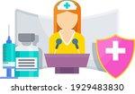vaccine information. woman... | Shutterstock .eps vector #1929483830