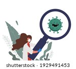 a woman doctor and a mask holds ... | Shutterstock .eps vector #1929491453