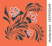 ethnic folk flowers.... | Shutterstock .eps vector #1929545249