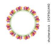 round flower frame made of... | Shutterstock .eps vector #1929561440