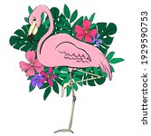 flamingos on a background of...   Shutterstock .eps vector #1929590753