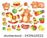 hand drawn kid toys teddy bear...   Shutterstock .eps vector #1929610523