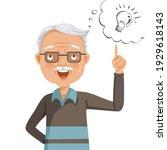 elderly man thinking looking up ... | Shutterstock .eps vector #1929618143