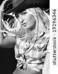 nice girl in a cowboy's hat... | Shutterstock . vector #19296346