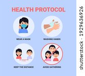 new normal pandemic protocol... | Shutterstock .eps vector #1929636926
