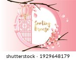 asian spring and round window... | Shutterstock .eps vector #1929648179