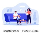 mom and dad feeding kid at home.... | Shutterstock .eps vector #1929813803