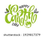 hand sketched text 'happy earth ...   Shutterstock .eps vector #1929817379